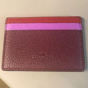 Coach Purple Color Block Card Case
